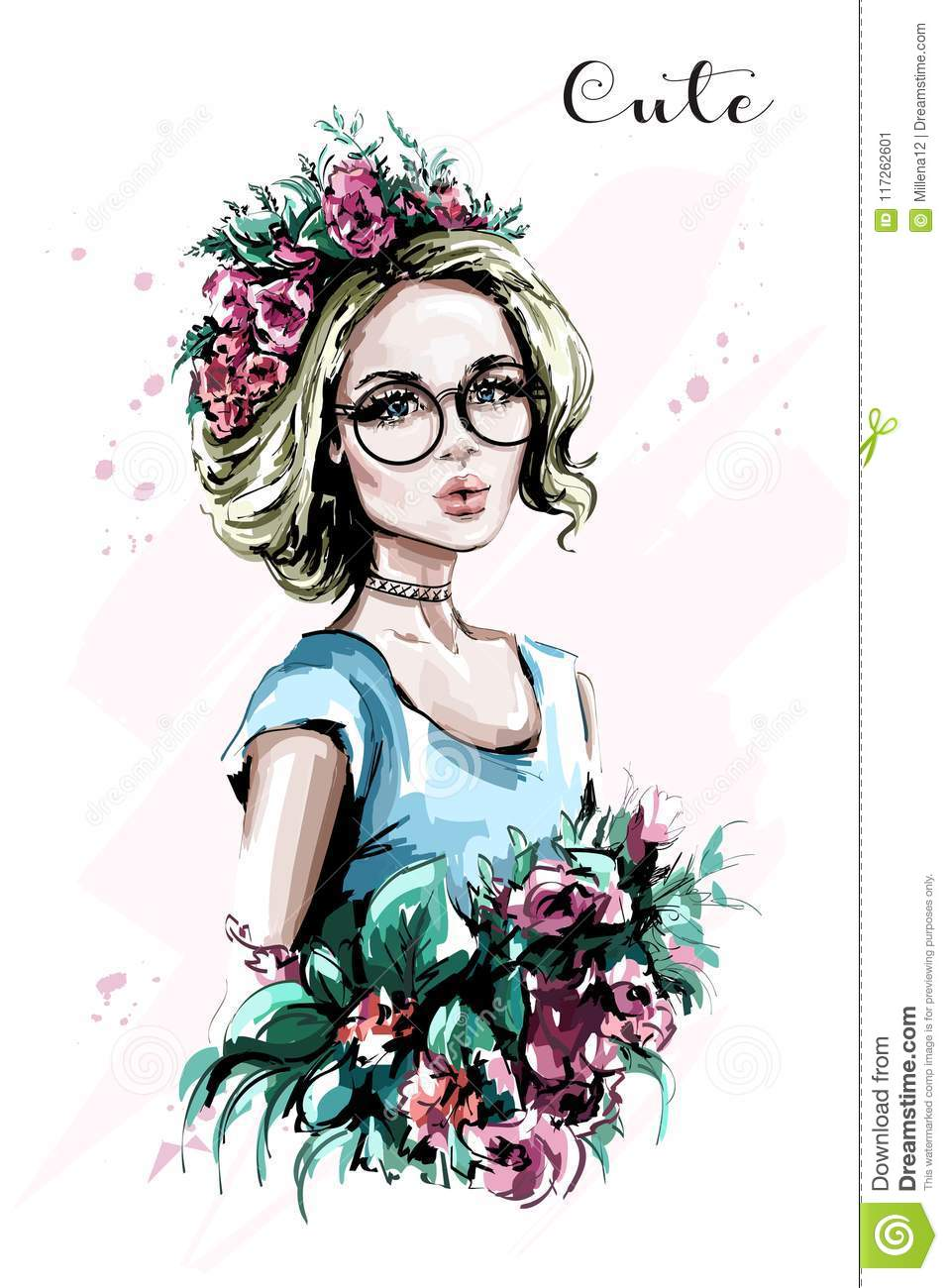 Hand Drawn Beautiful Young Woman Portrait Fashion Woman In
