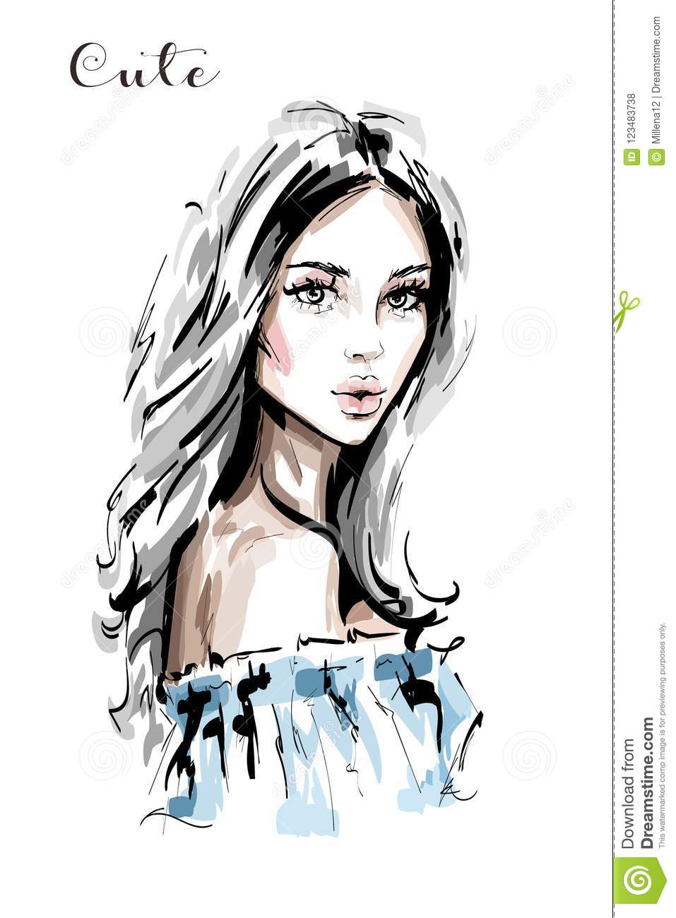 Hand drawn beautiful young woman portrait stylish elegant girl fashion woman face