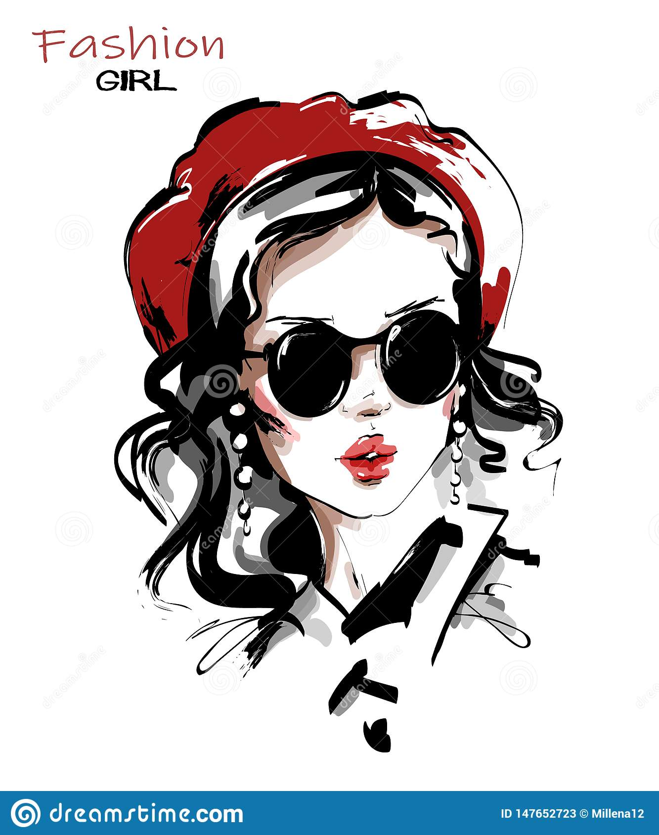Hand drawn beautiful young woman in red beret. Stylish girl in sunglasses. Fashion woman look. Sketch.