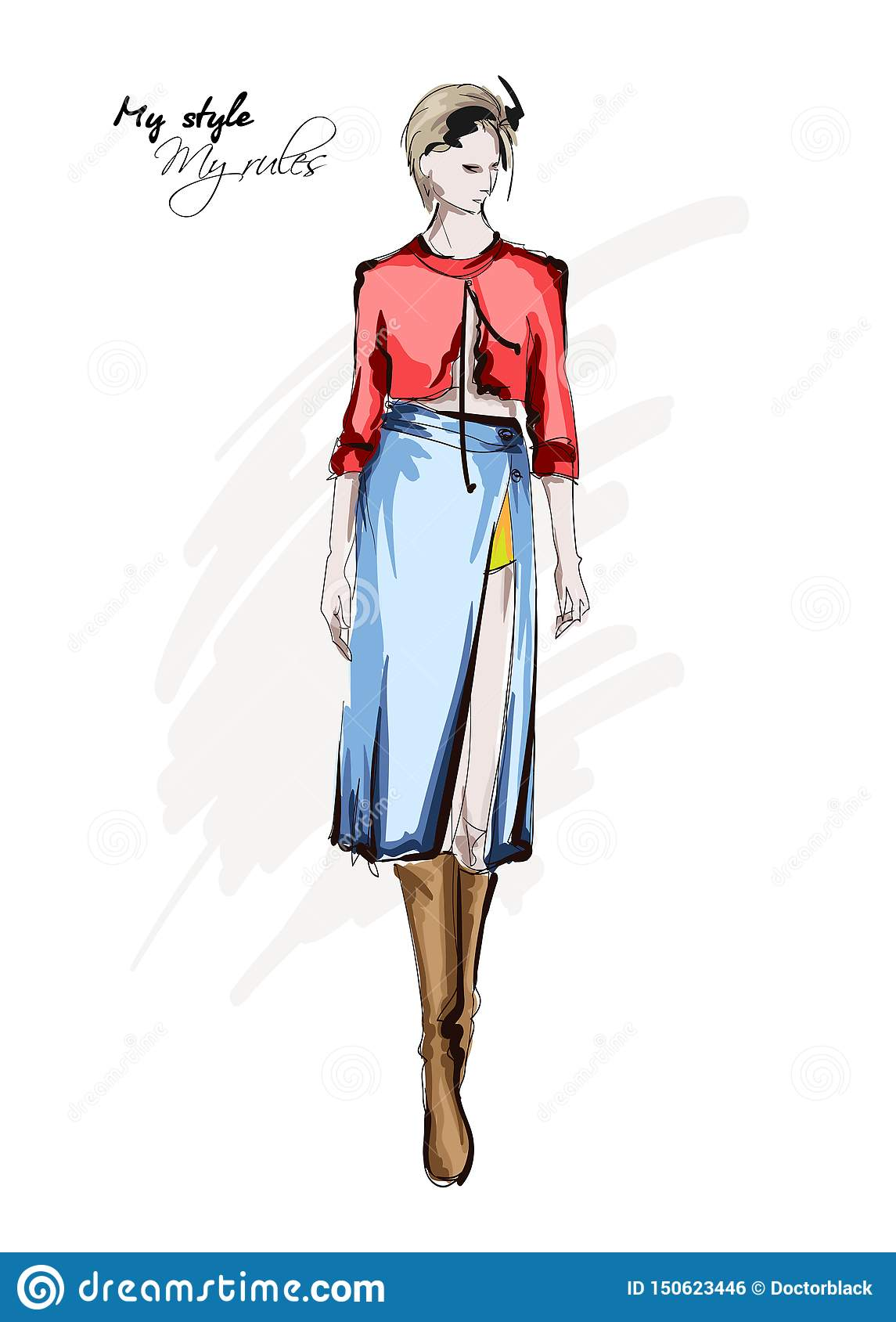 Hand Drawn Beautiful Young Woman In Skirt And Blouse Stylish Autumn Outfit Fashion Woman Look Fashion Model Posing Sketch Stock Illustration Illustration Of Beautiful Abstract 150623446