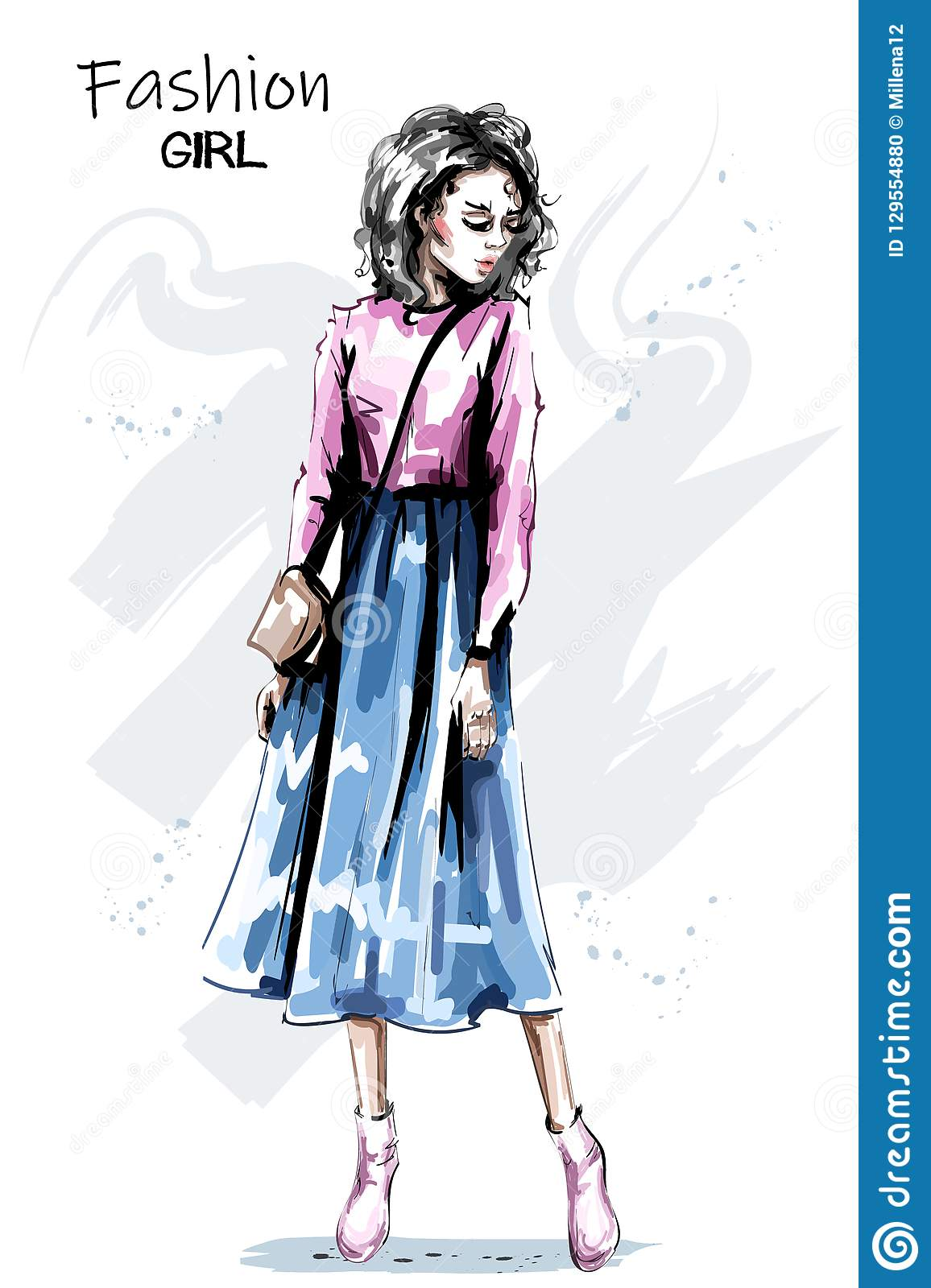 Hand drawn beautiful young woman in skirt. Stylish elegant girl outfit. Fashion woman full body portrait.