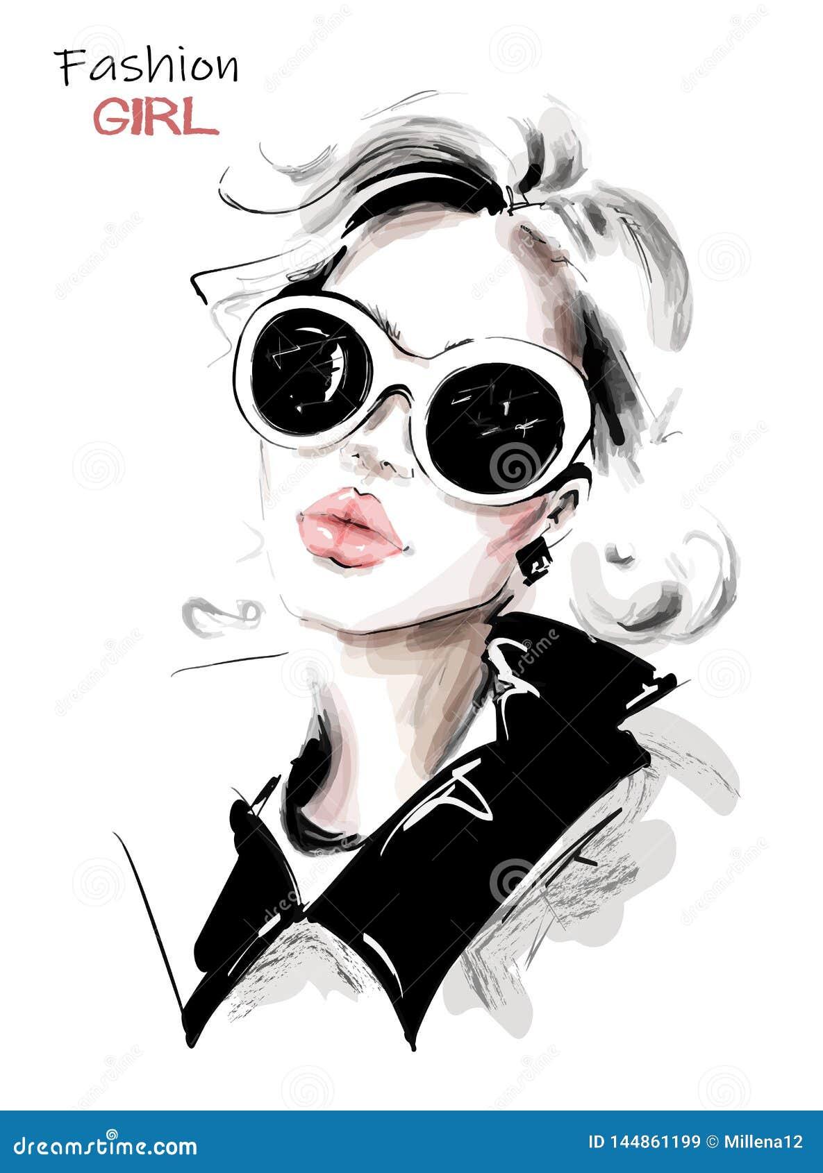 Hand drawn beautiful young woman in sunglasses. Stylish elegant girl. Fashion woman look. Sketch.