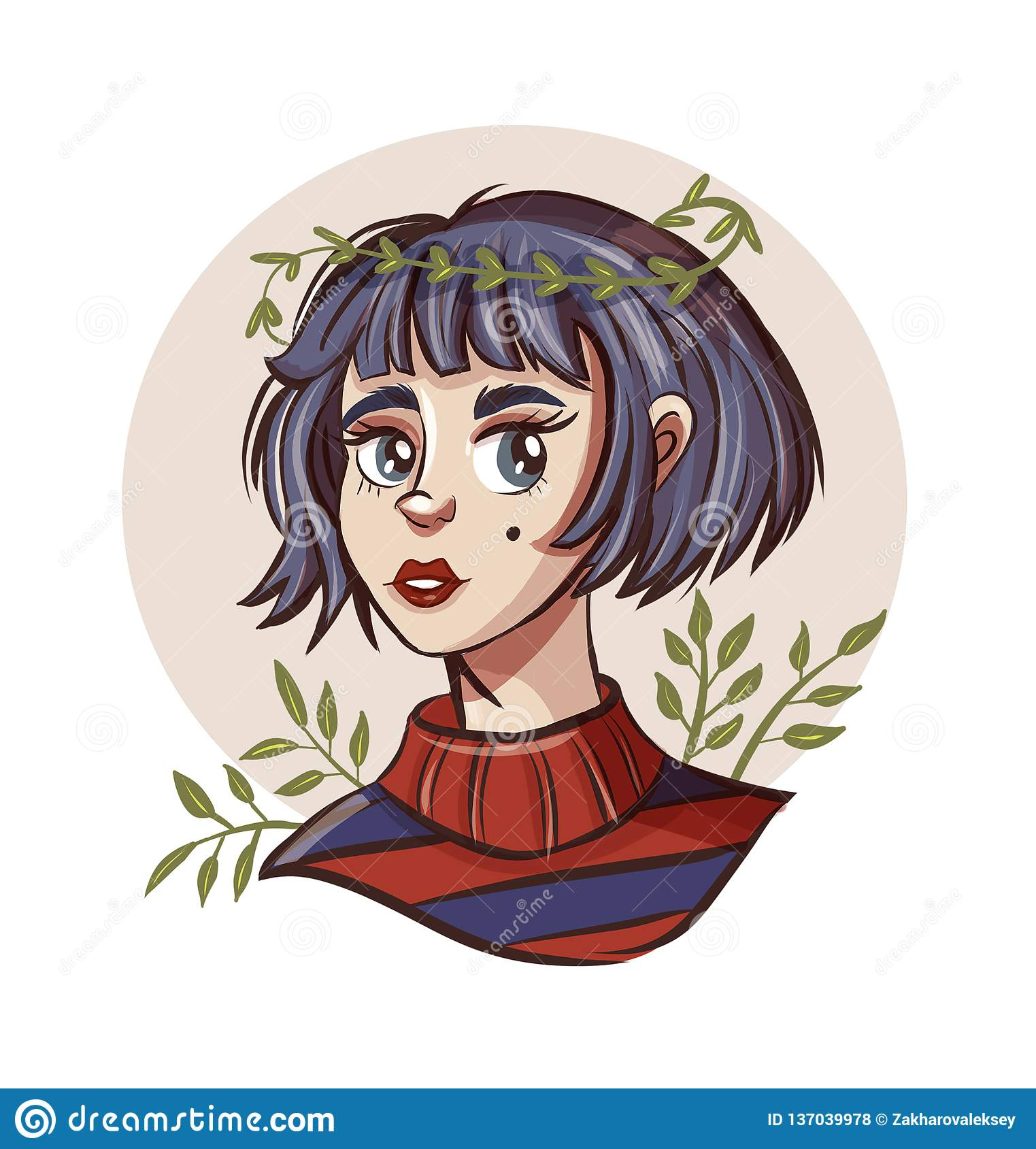 Hand Drawn Beautiful Young Woman In Wreath Cute Girl With Short