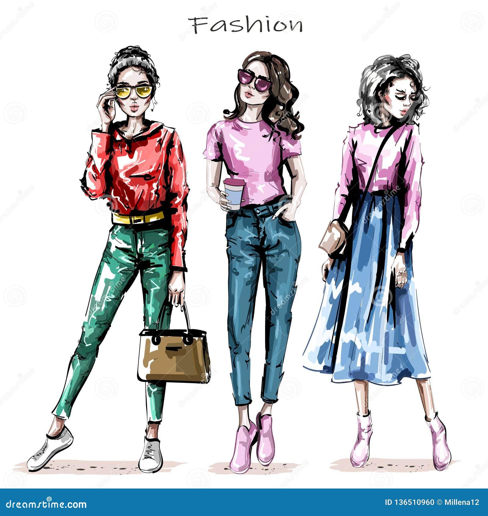 Hand drawn beautiful young women set. Stylish girls. Fashion women looks. Sketch.