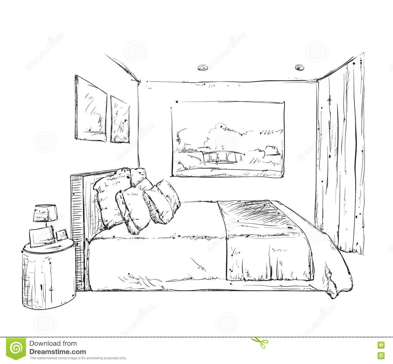 hand drawn bedroom interior sketch stock vector - image: 72902495, Schlafzimmer entwurf
