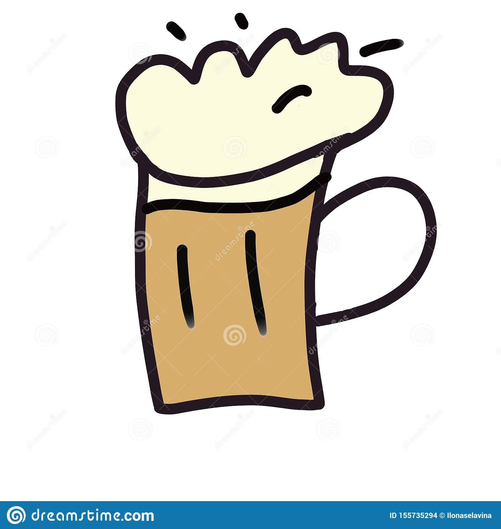 Hand drawn beer cup clipart for octoberfest greeting card isolated on white