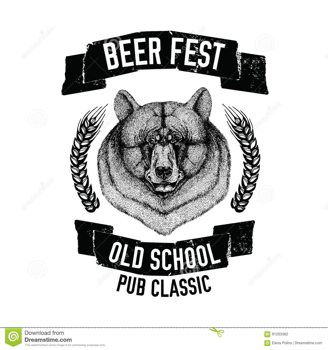 hand drawn beer emblem with american black bear template for badge