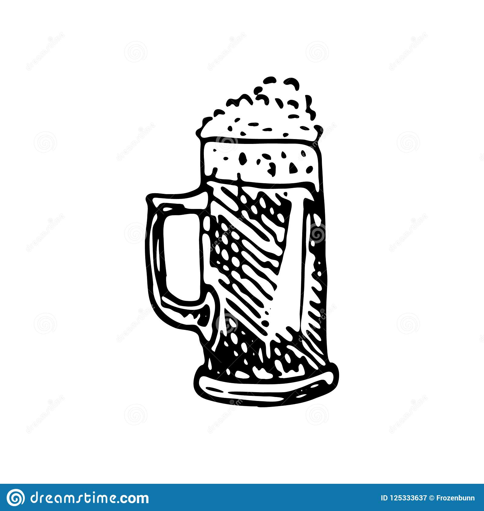 Hand Drawn Beer Mug Doodle Sketch Food And Drink Icon Decoration Element Isolated On White Background Vector Illustration Stock Vector Illustration Of Doodle Froth 125333637