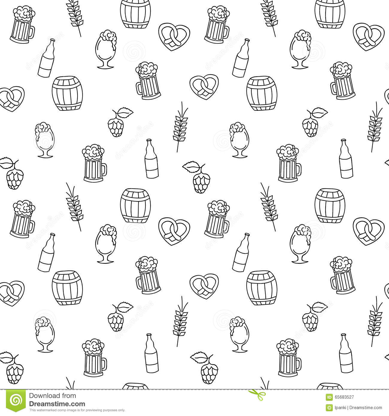 Hand Drawn Beer Mug Seamless Pattern For Adult Coloring Pages Stock