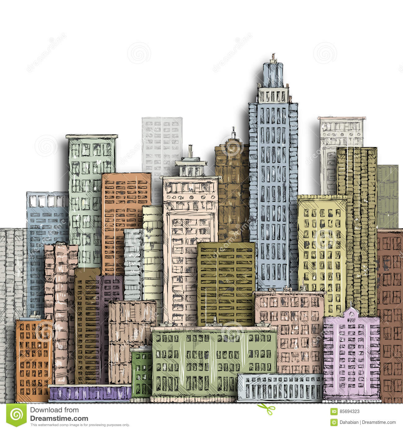 Hand drawn big city. Vintage illustration with architecture, skyscrapers, megapolis, buildings, downtown.