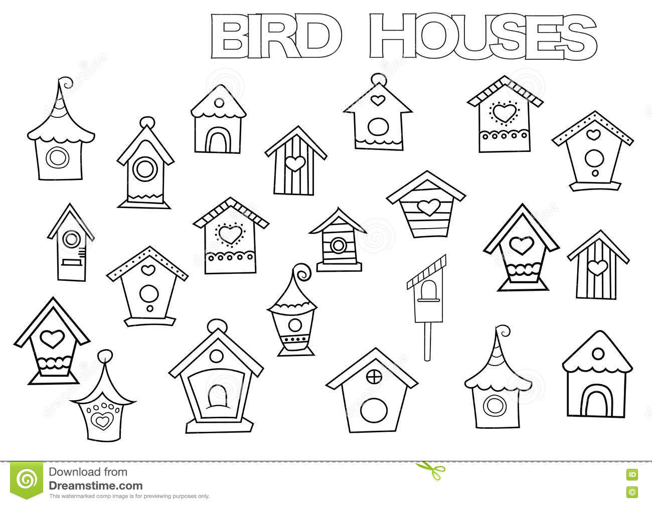 Bird Book Coloring Doodle Drawn Hand Houses