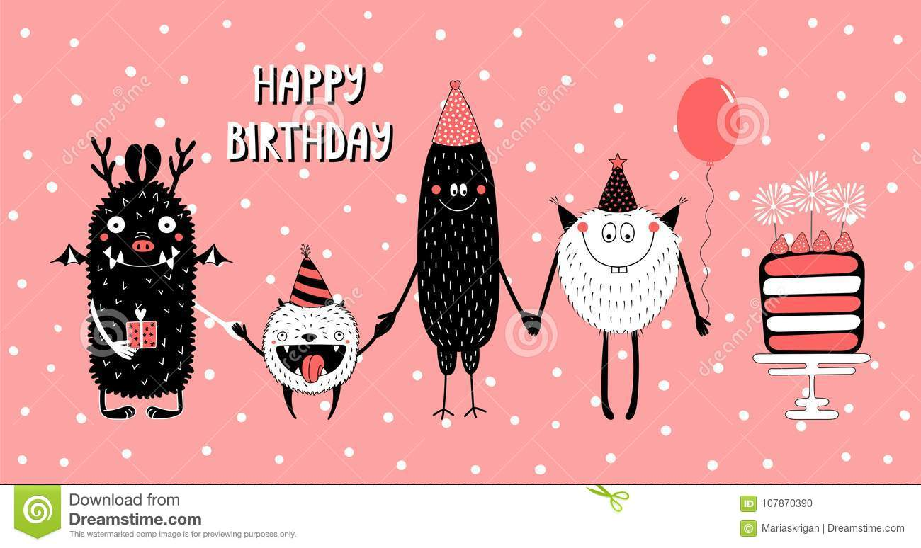 Hand Drawn Birthday Card With Cute Funny Monsters In Party Hats Smiling And Holding Hands Typography Vector Illustration Isolated Objects