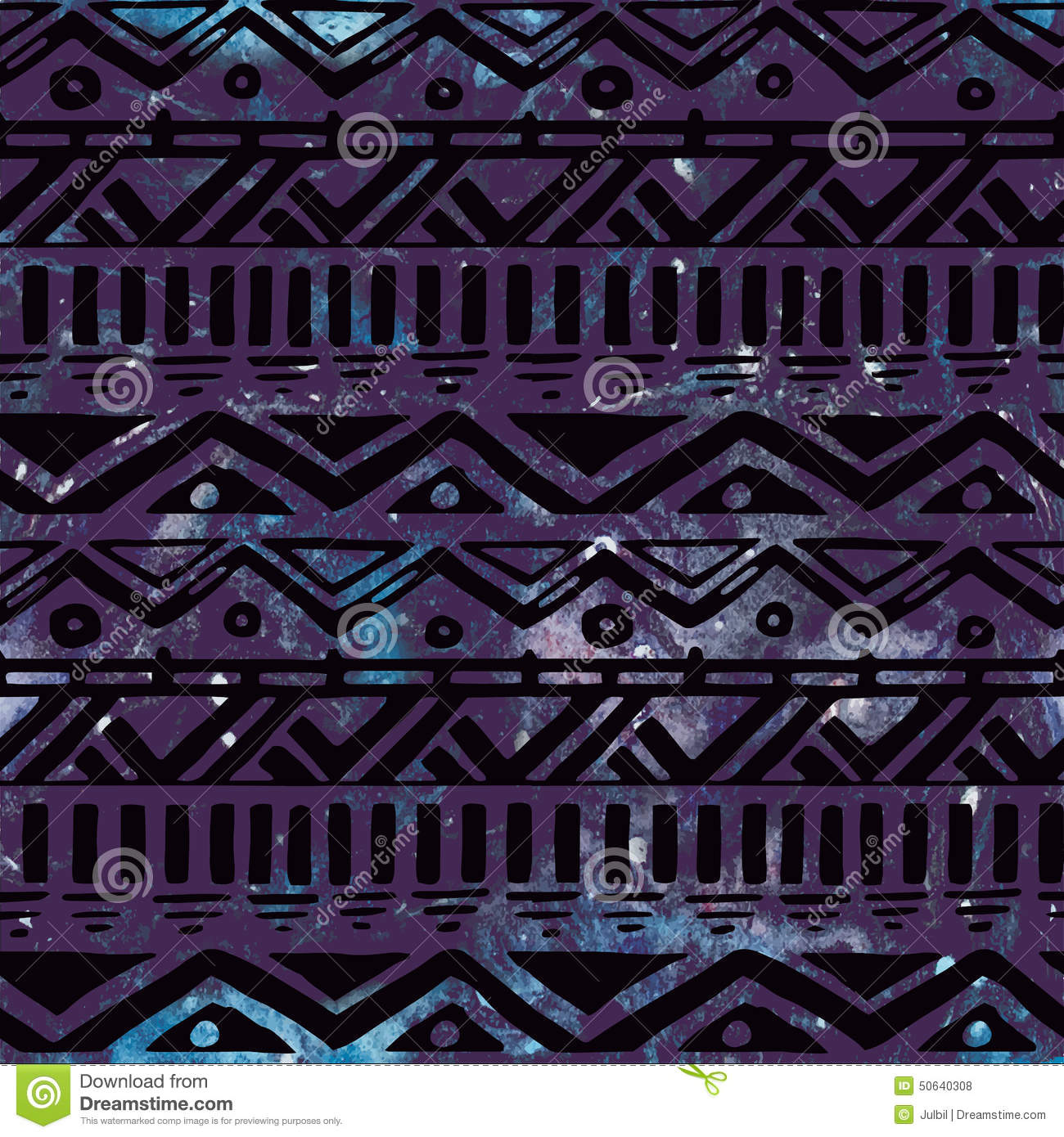 Hand drawn black aztec tribal seamless background stock for Cosmic pattern clothing