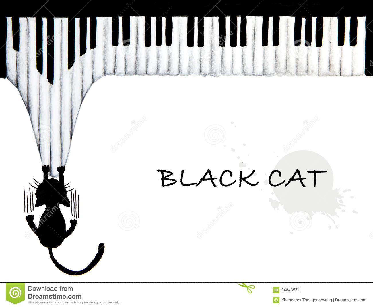 Hand drawn of Black cat scratching piano