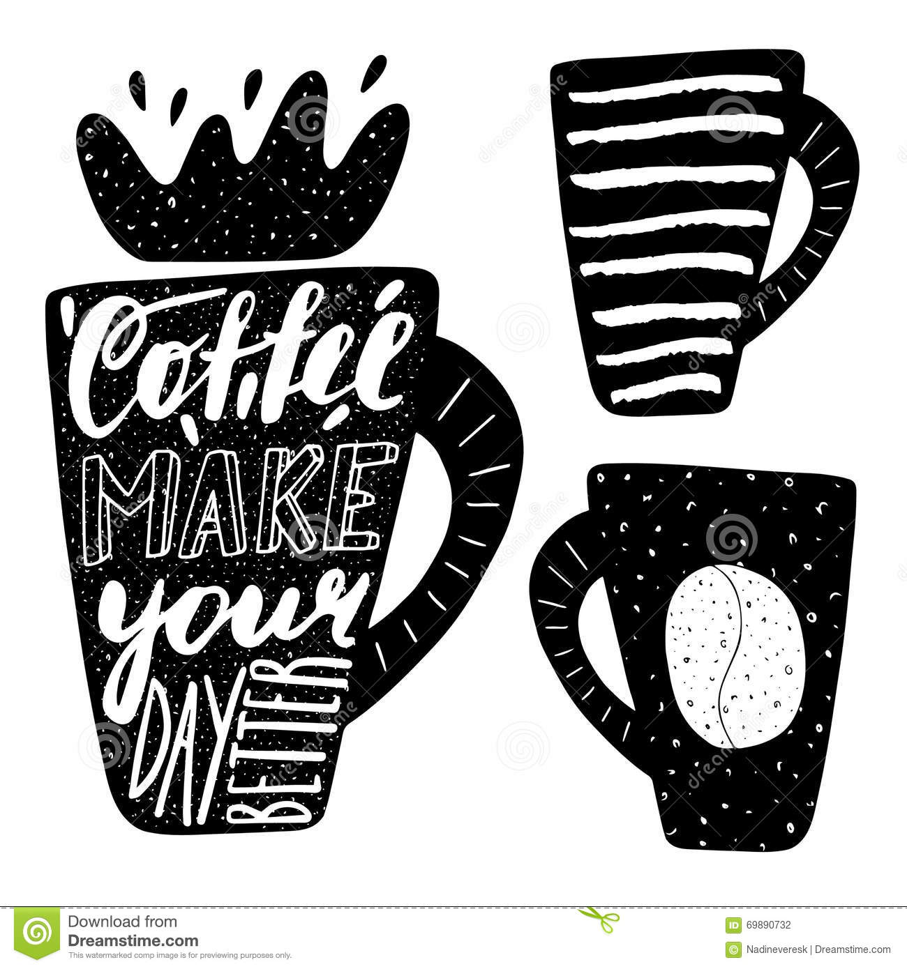 hand drawn black coffee logo lettering quotes stock vector