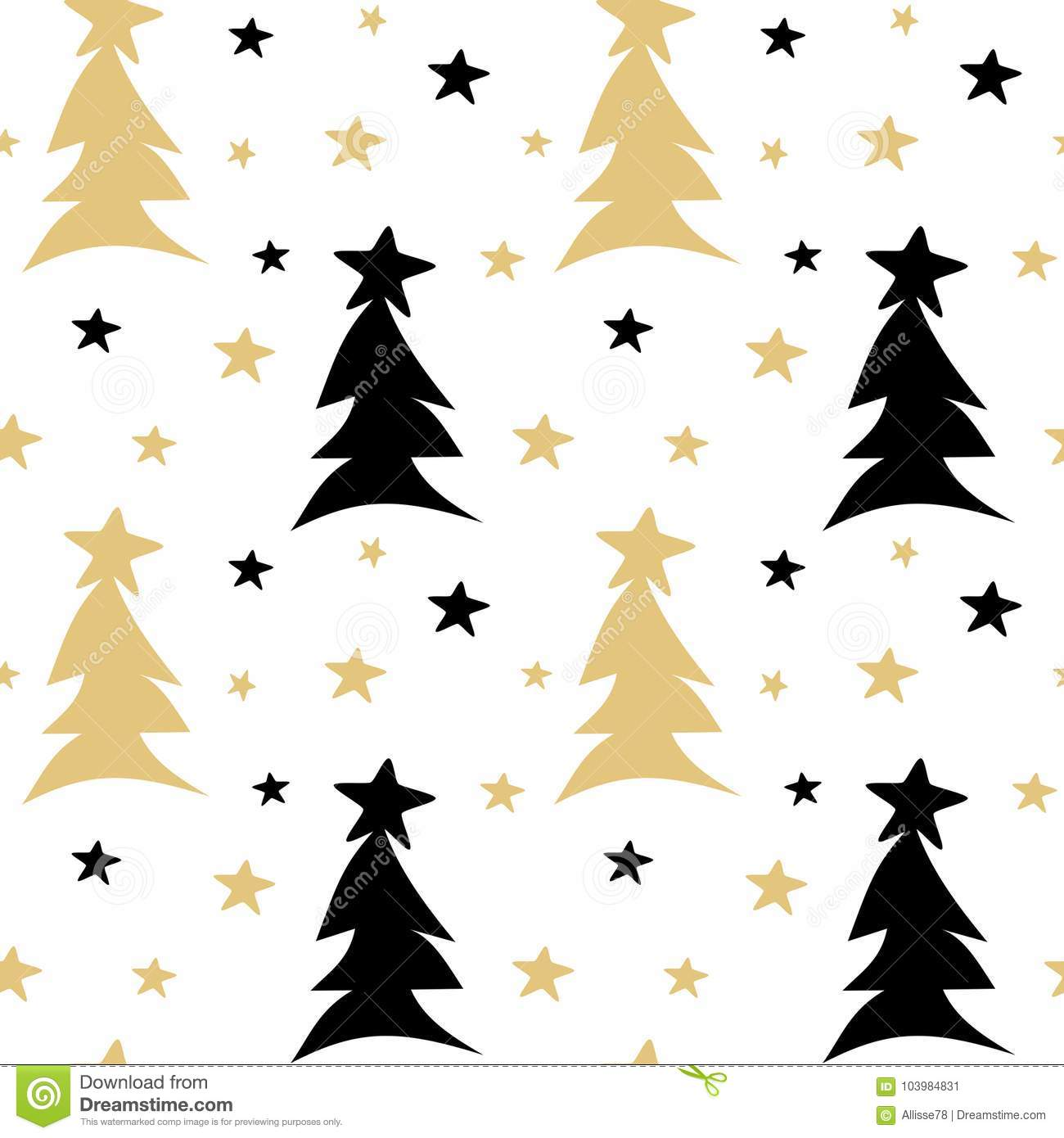 Hand drawn black white gold seamless vector pattern background illustration with abstract christmas trees and stars