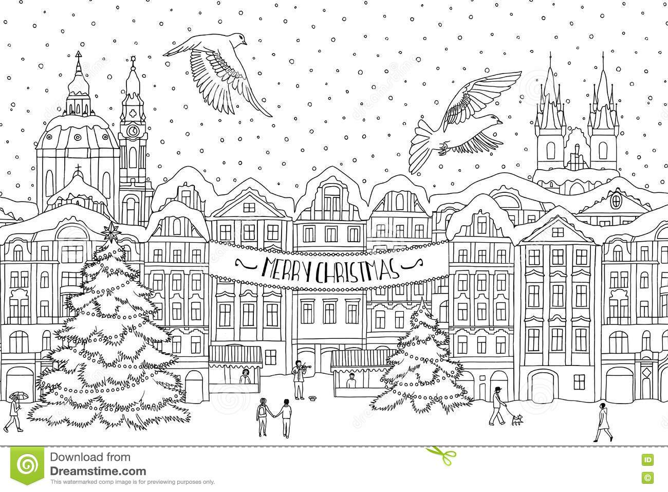 hand drawn black and white illustration of a city in winter at