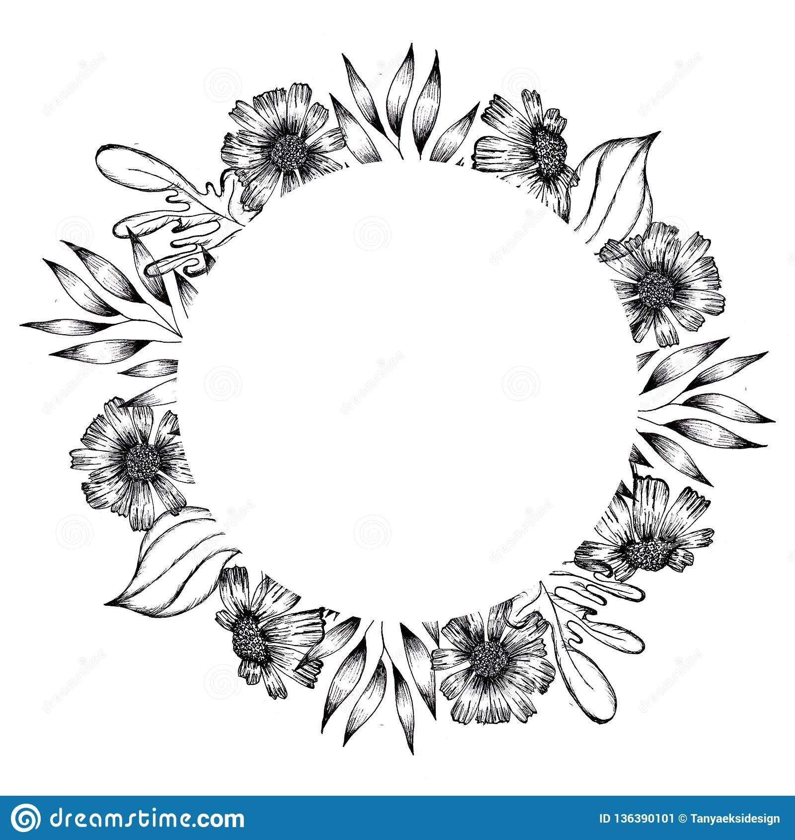 Hand Drawn Black And White Ink Leaves And Flowers Background Round