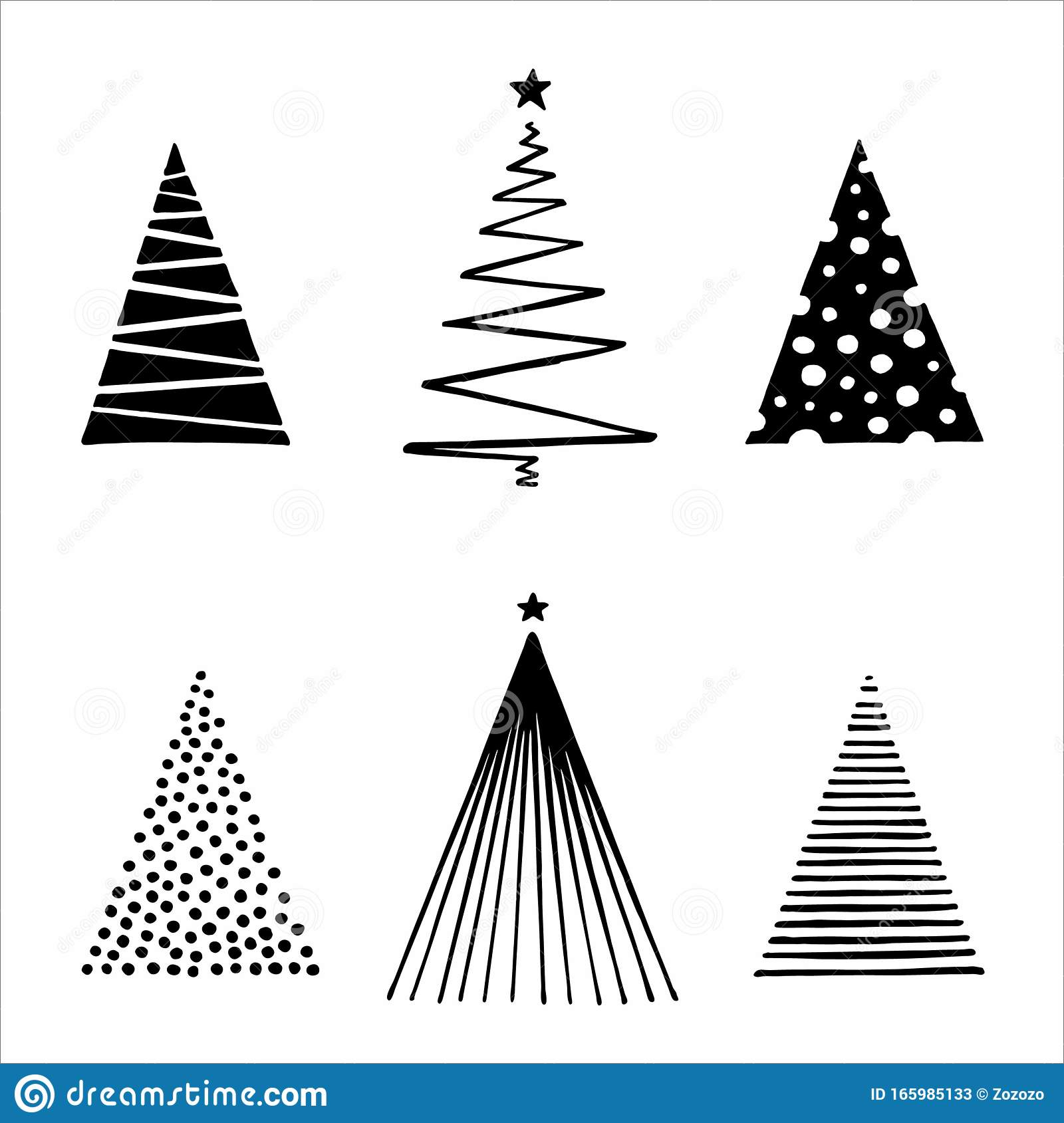 Geometric Christmas Tree Vector Set Stock Vector Illustration Of Cedar Black 165985133