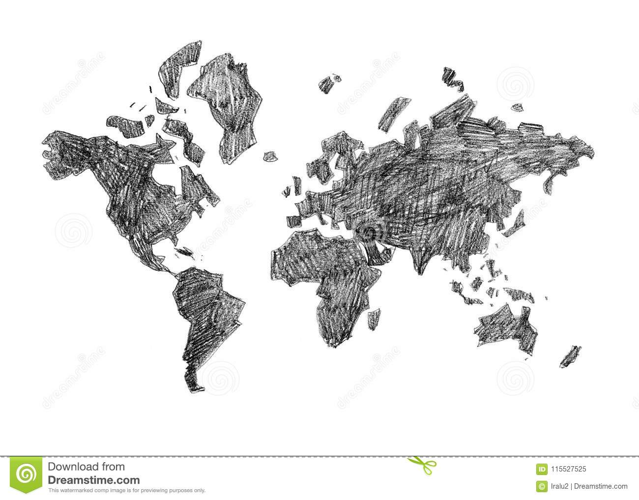 Hand Drawn Black And White Poster World Map Stock Illustration
