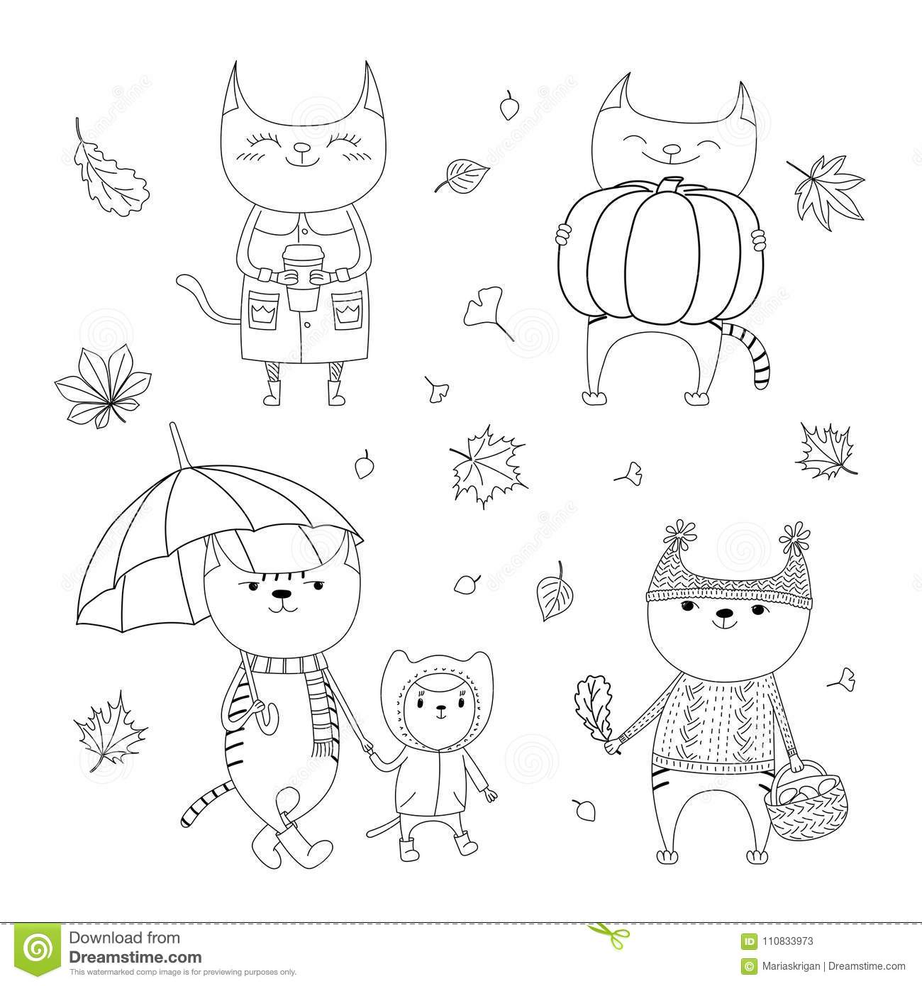 Cute Autumn Cats Coloring Pages Stock Vector ...