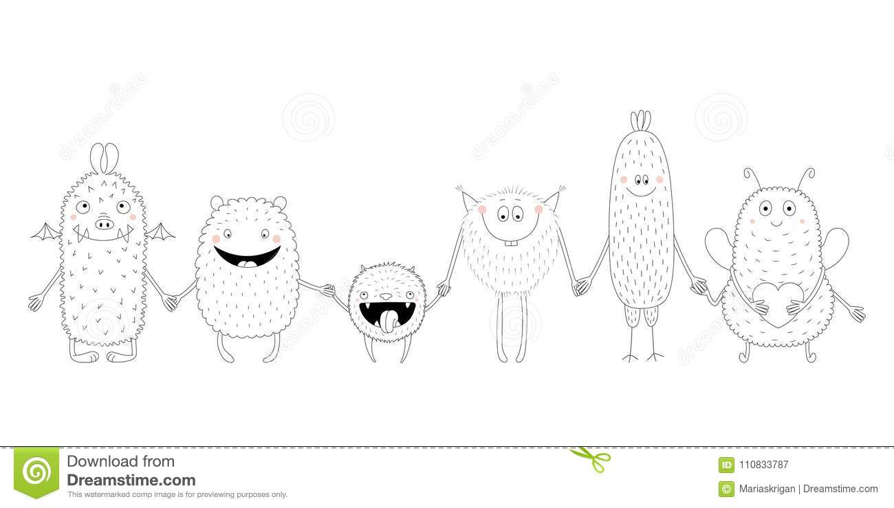 cute monsters coloring pages stock vector illustration of coloring