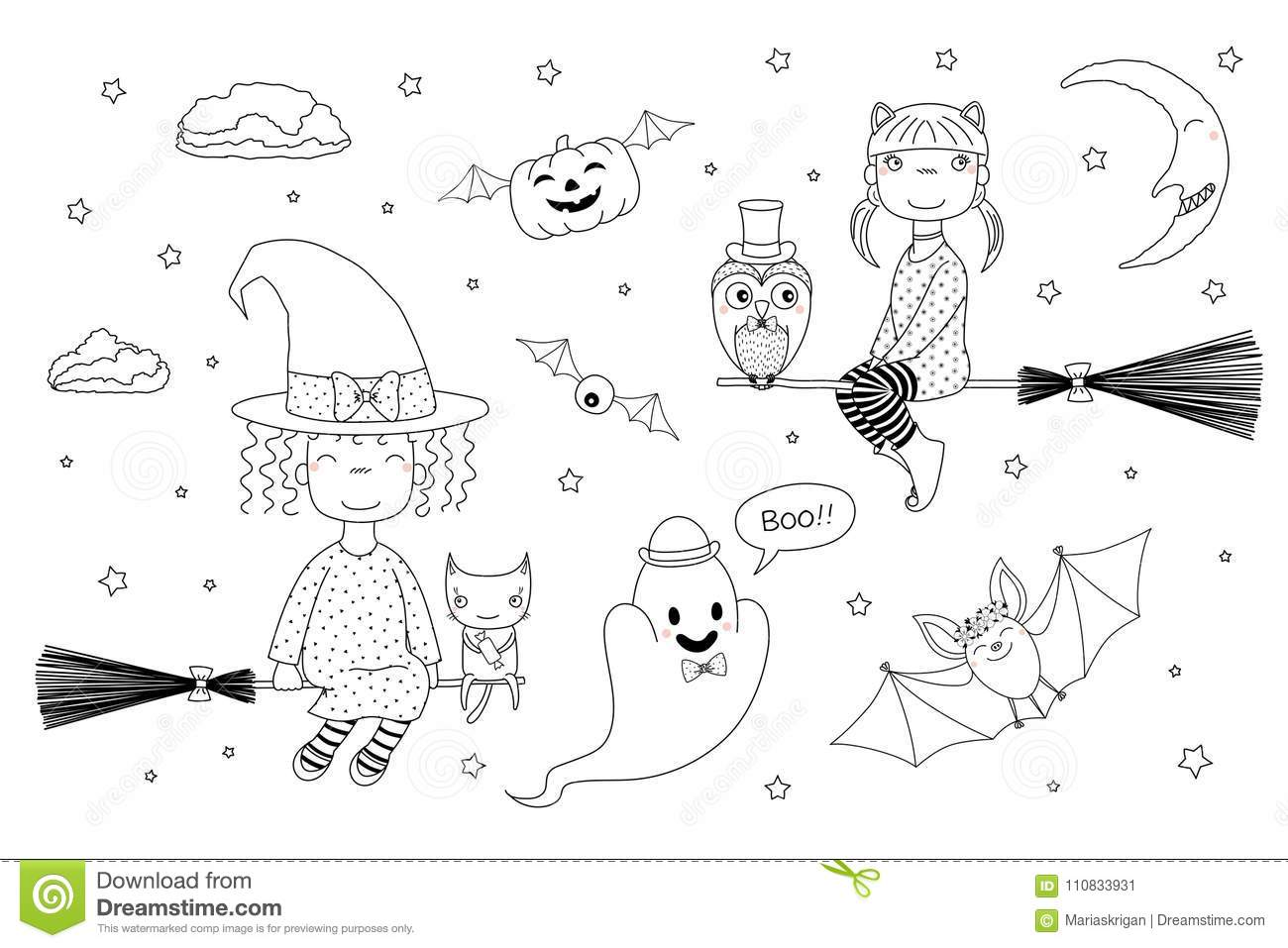 Cute Witches Coloring Pages Stock Vector - Illustration of ...