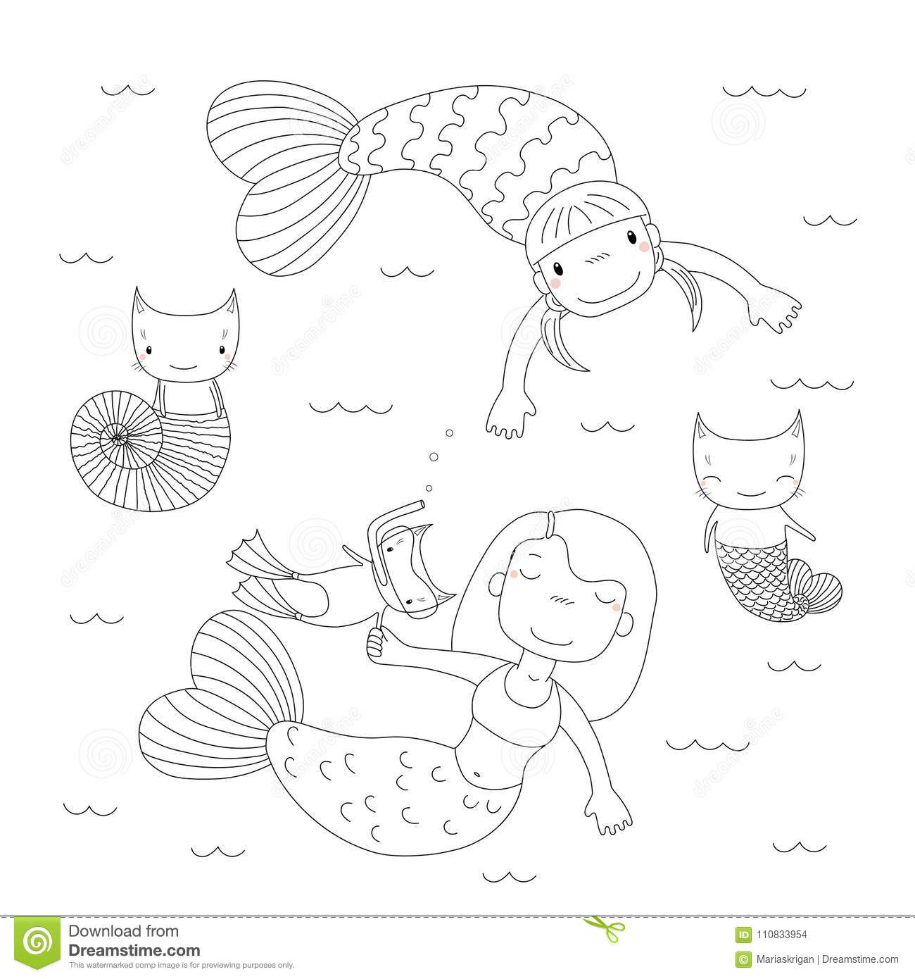 Cute Mermaids Coloring Pages Stock
