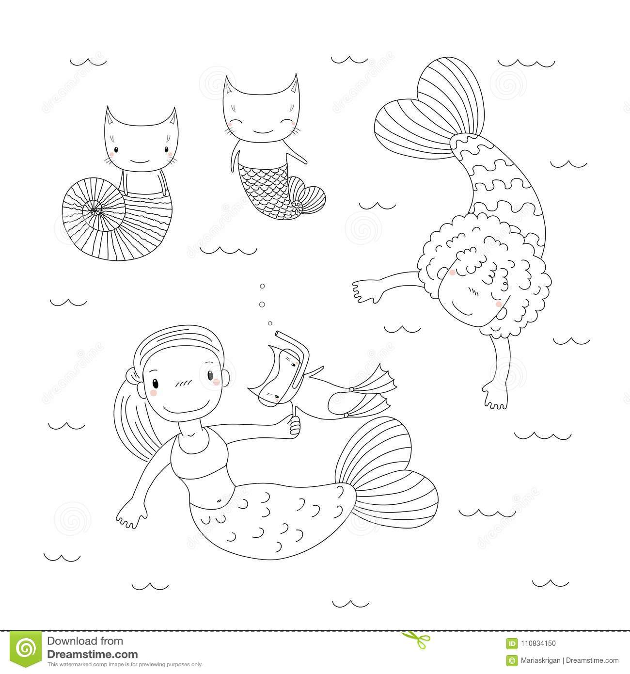 Cute Mermaids Coloring Pages Stock Vector - Illustration of ...