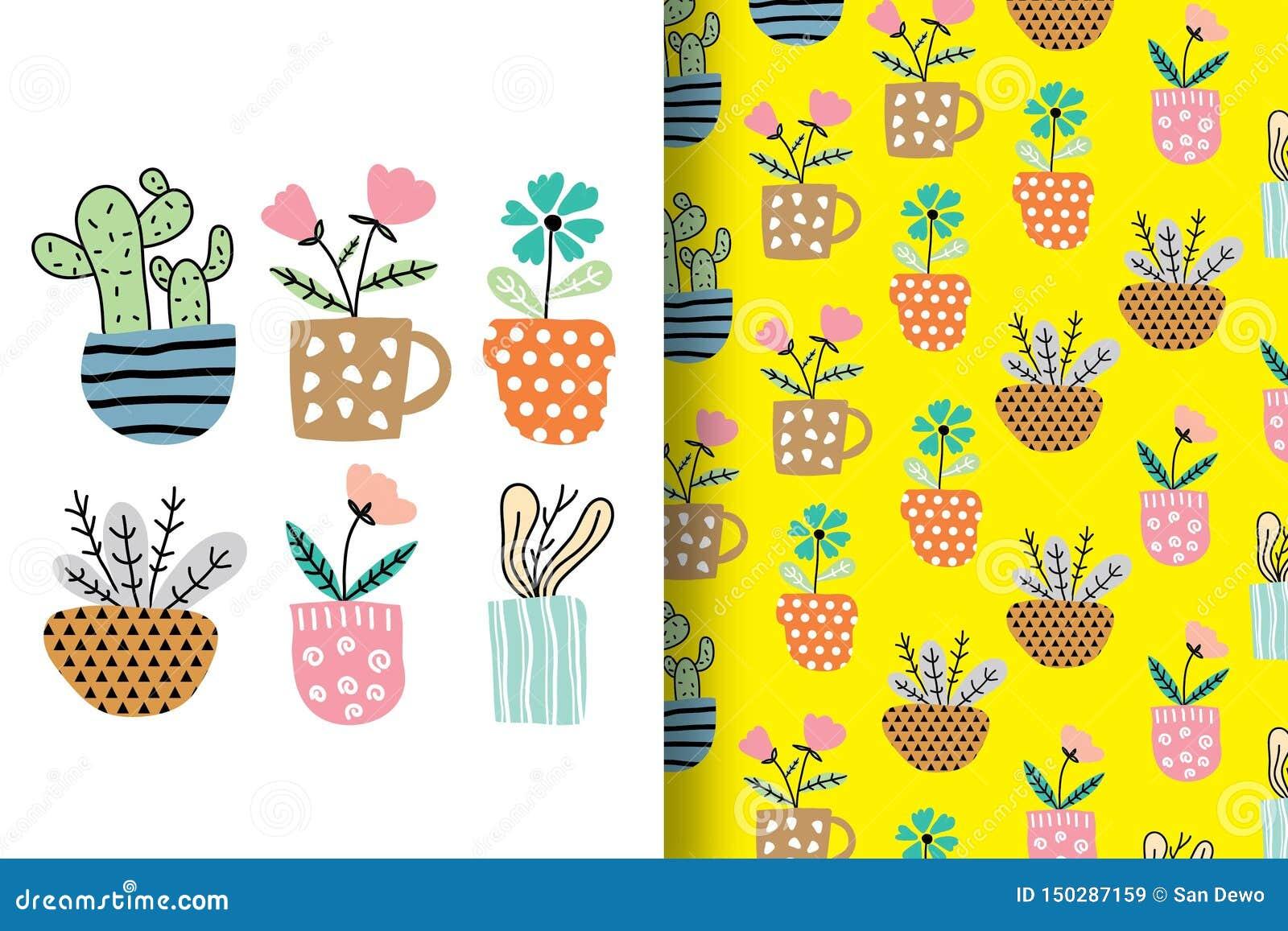 Hand-drawn bloemen worden geschikt grappig met patronen