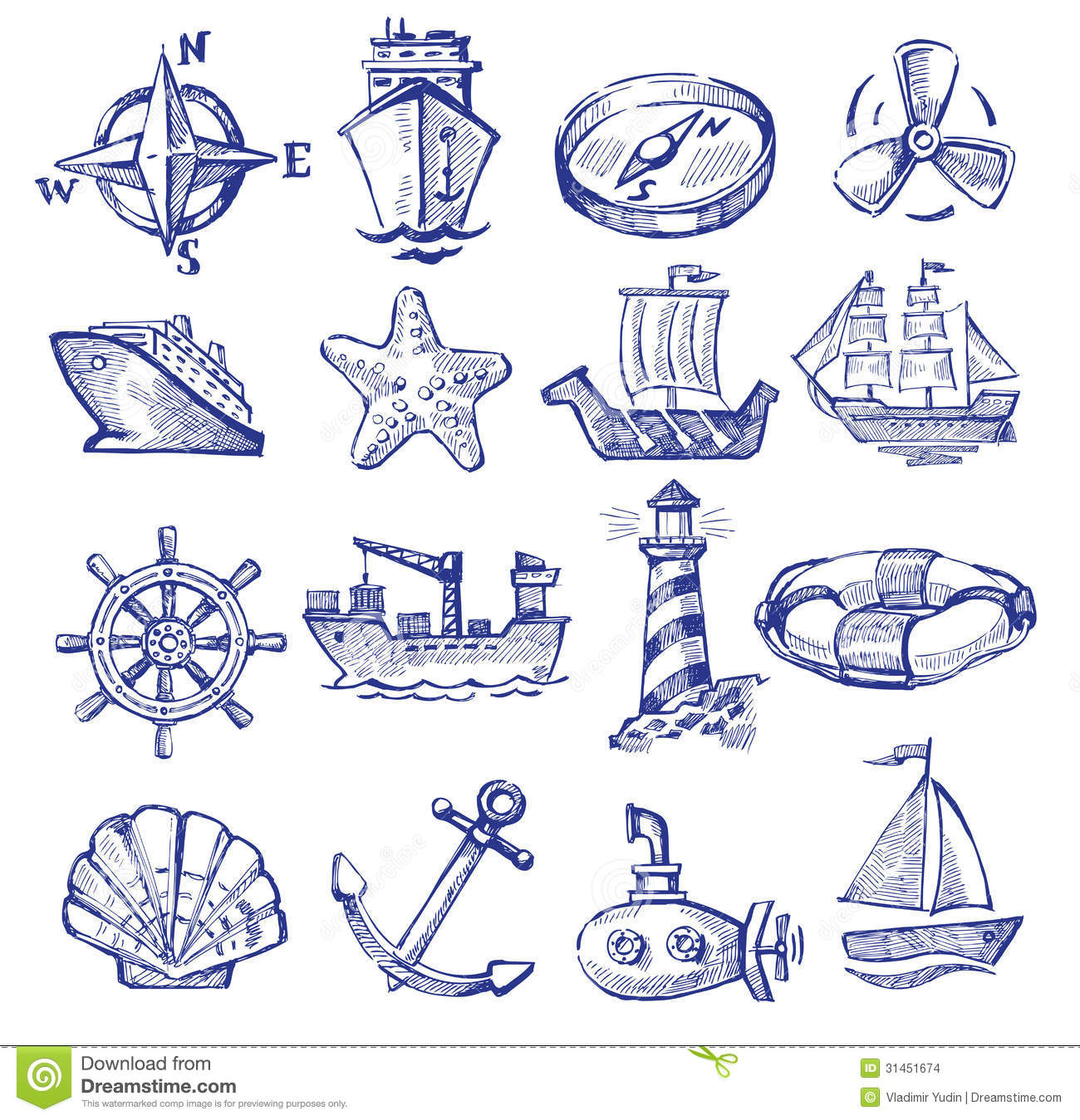 Hand drawn boat and ship stock vector. Image of submarine - 31451674