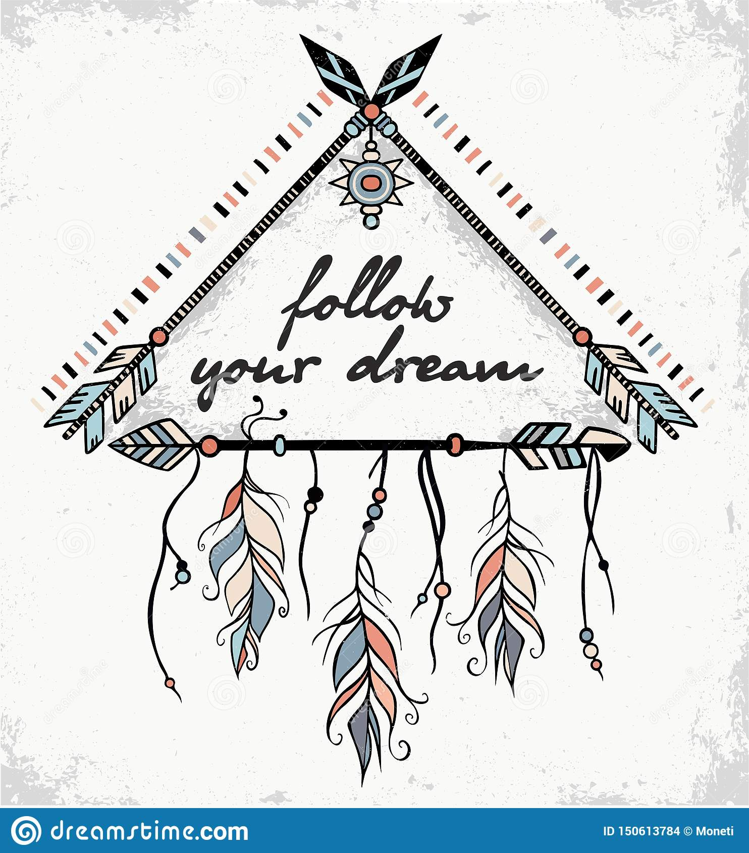 Follow your dreams embroidery design Inspirational Quote modern cross stitch Adventure Awaits Boho arrows Feather cross stitch pattern