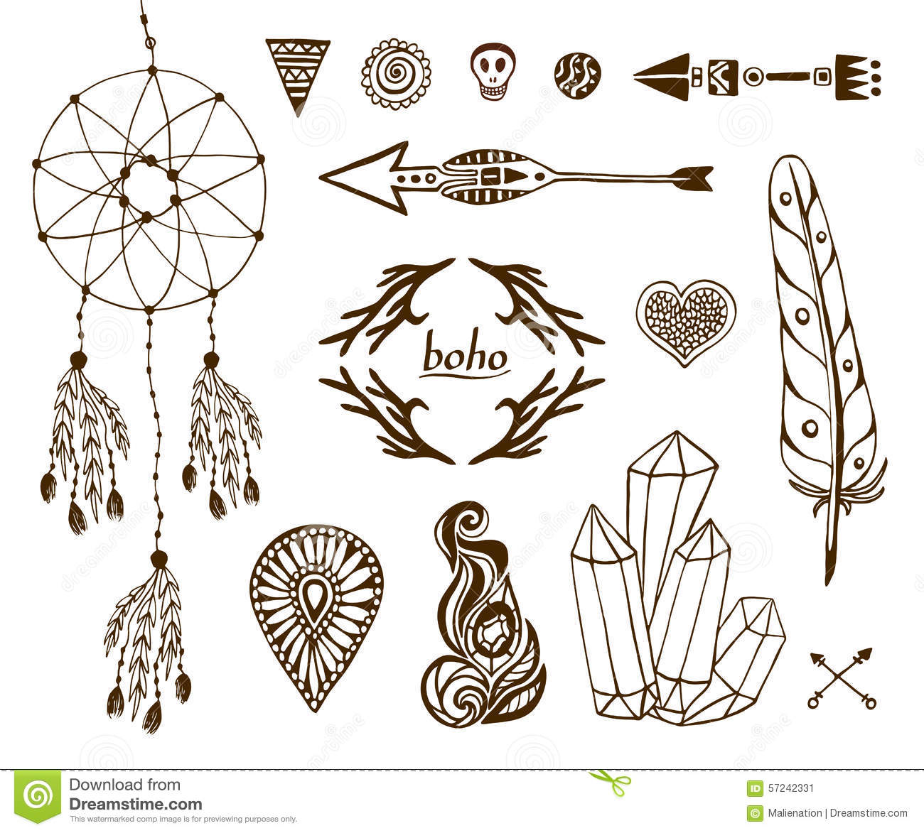 Hand-drawn boho collection with arrows, crystal, feather, dreamcatcher ...