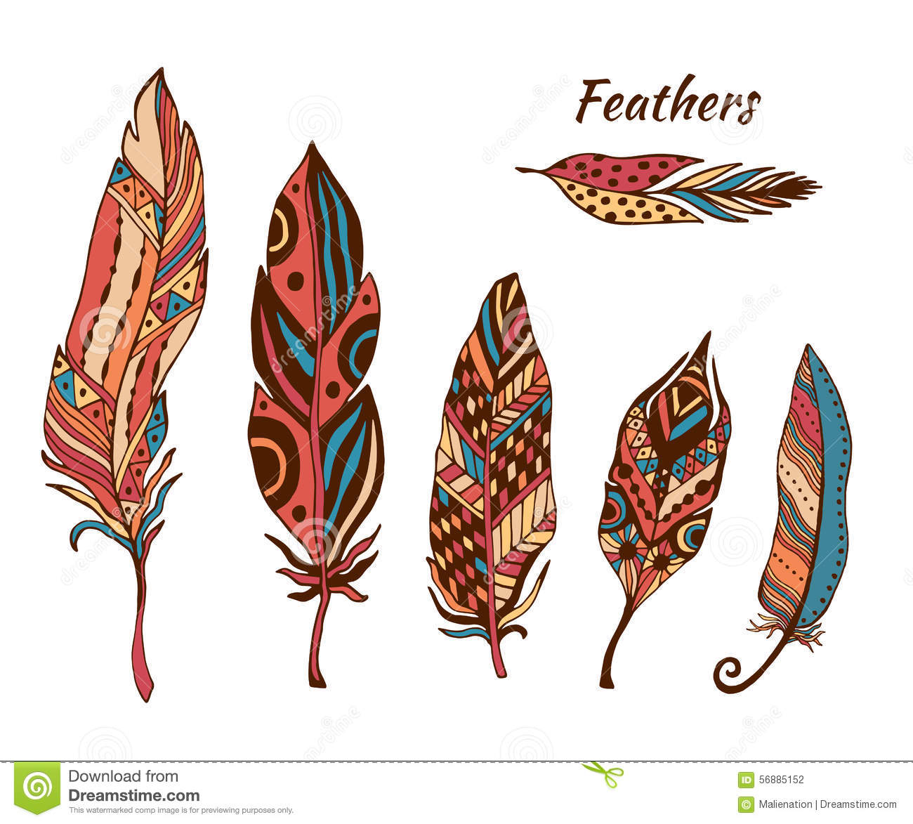 Hand Drawn Boho Feathers Vector Collection Set Of Doodle Ethnic Color Feathers Cute Zentangle