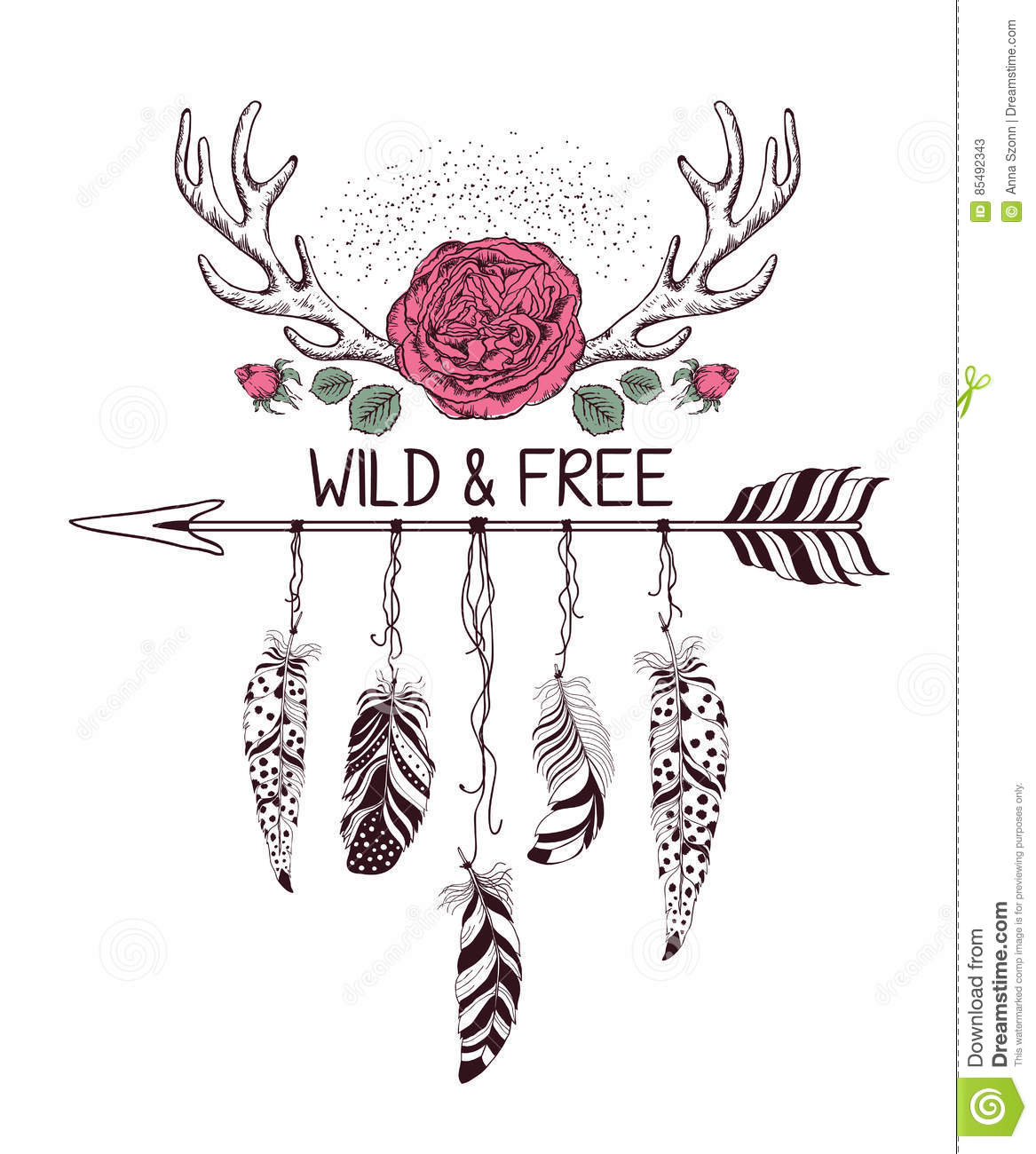 Hand Drawn Boho Style Design With Rose Flower Arrow And Deer Antlers Stock Vector Image