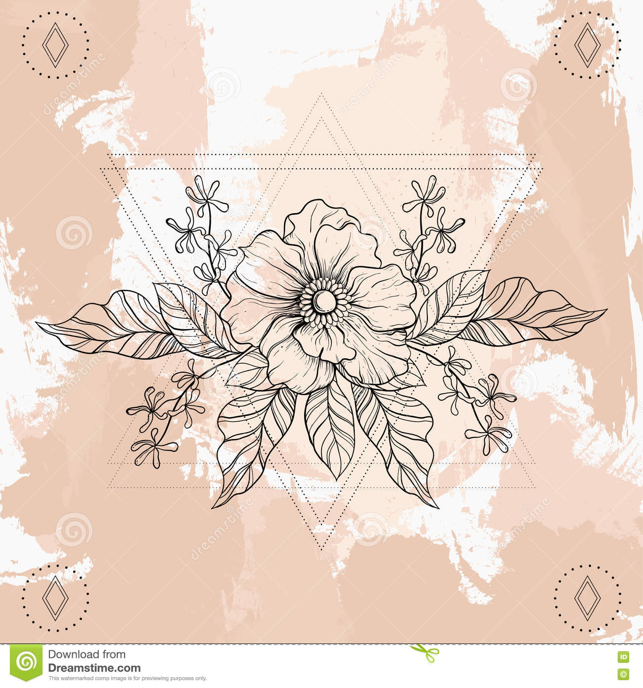 48a1fecc20bd7 Hand drawn boho tattoo. Blackwork flower in hipster triangles frame. Vector  illustration, tattoo sketch on grunge for t-shirt print, poster, textile.  Line ...
