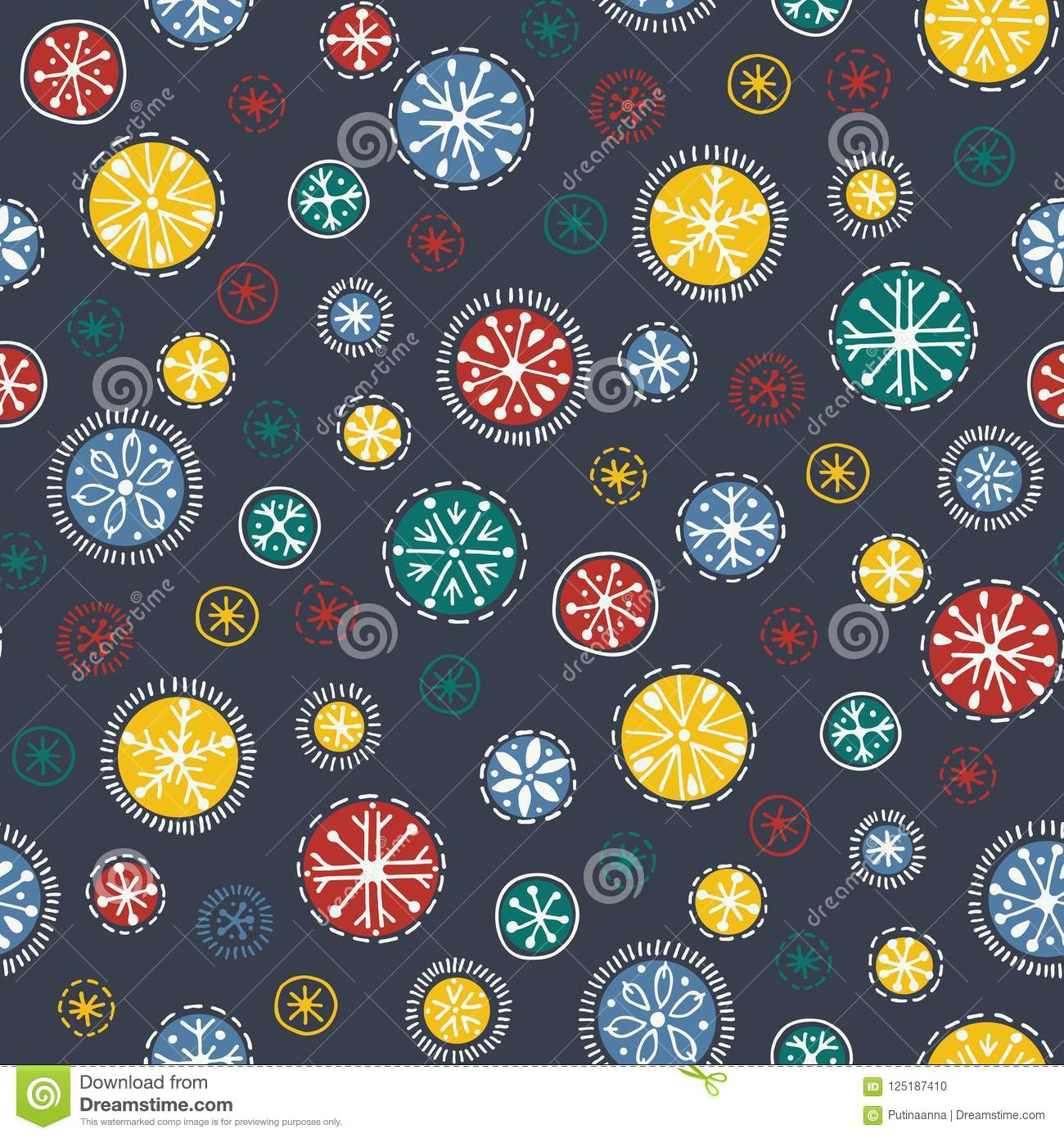 Hand drawn bright bohemian Christmas snowflakes vector seamless pattern background. Winter Holiday Handcrafted Print