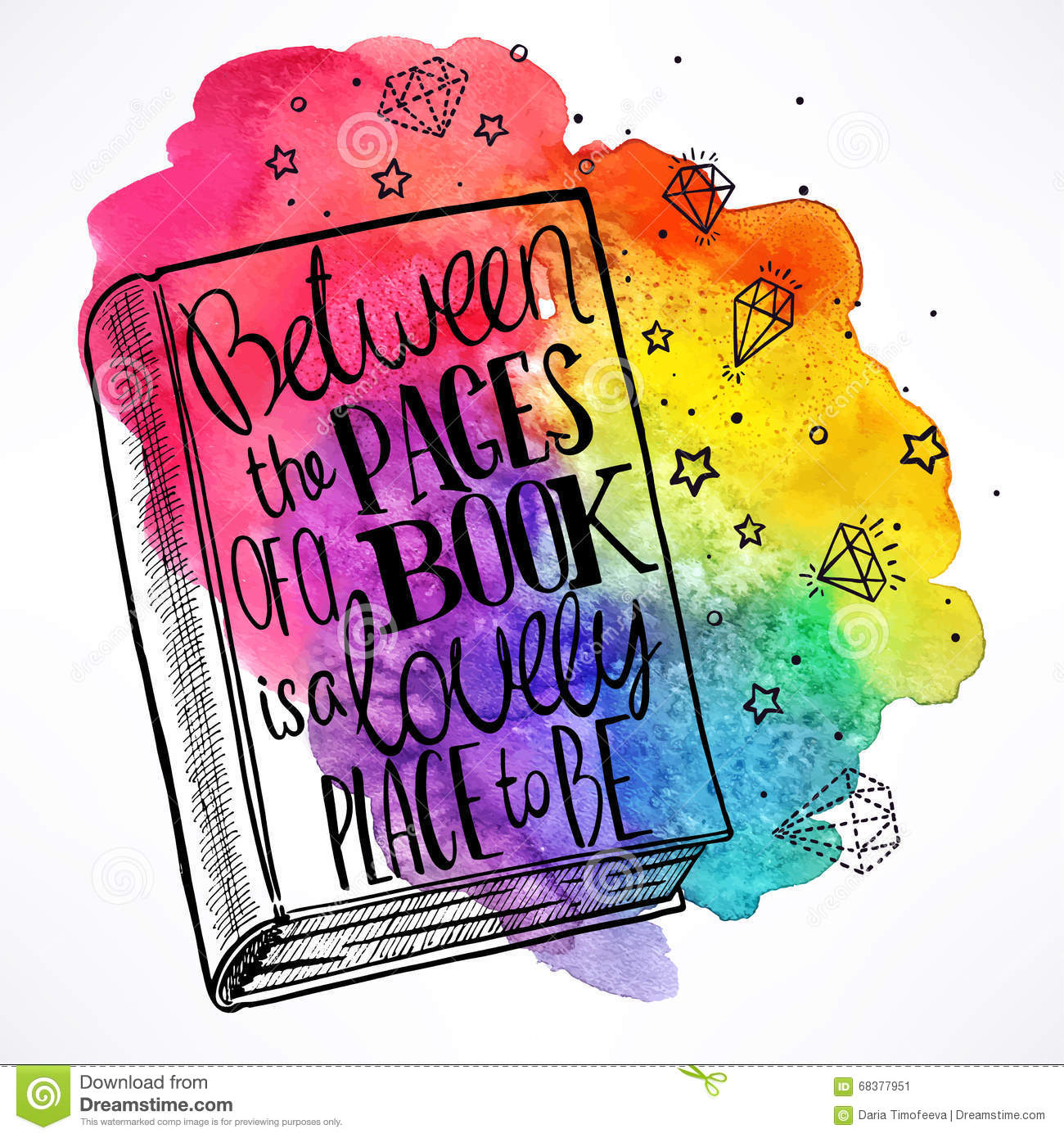 Book Cover Illustration Quotes : Hand drawn book on a watercolor background stock vector