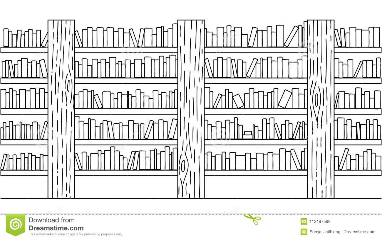 Hand Drawn Books On Bookshelf For Background Design Element And Coloring Book Page Kids Download Preview