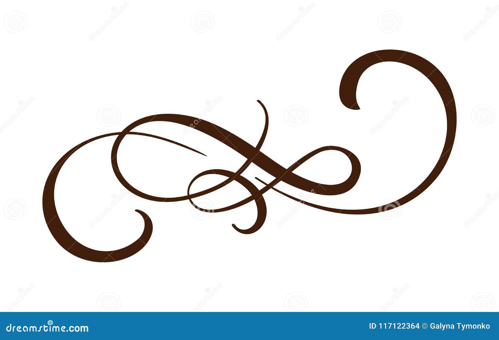Hand drawn border flourish separator Calligraphy designer elements. Vector vintage wedding illustration Isolated on