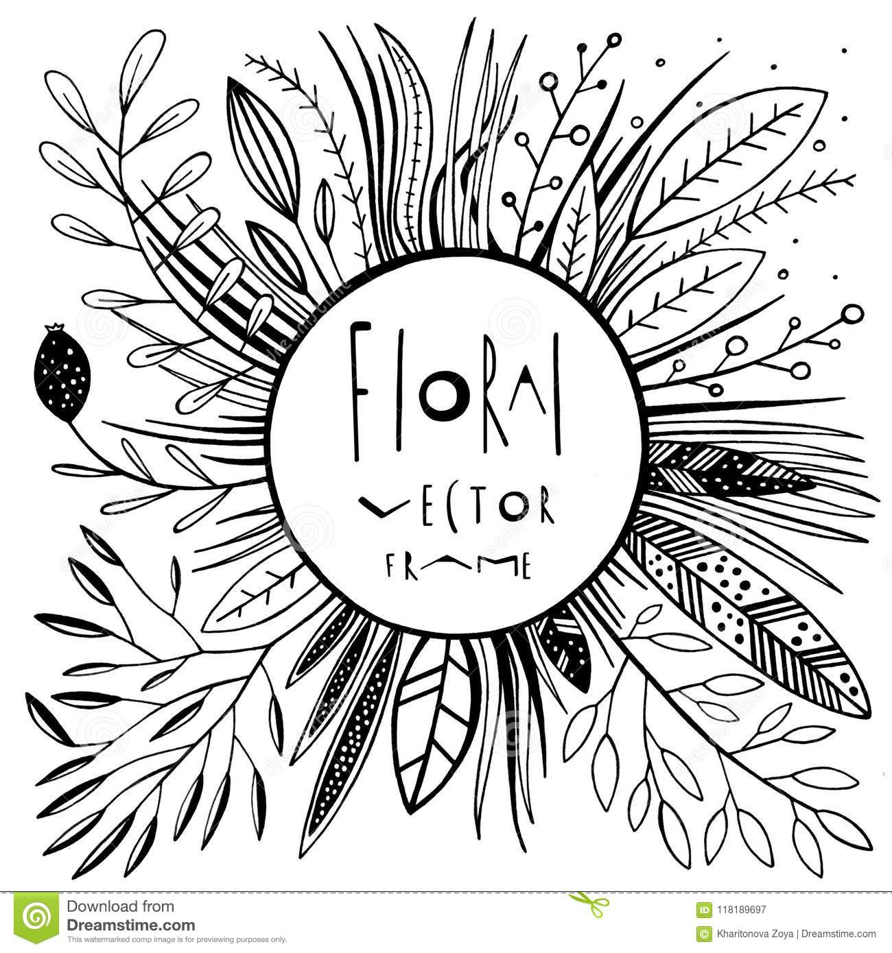 graphic floral vector frame stock vector illustration of doodle botany 118189697 https www dreamstime com hand drawn botanical frame black white nature graphics doodle leaves grass flowers graphic floral vector frame image118189697