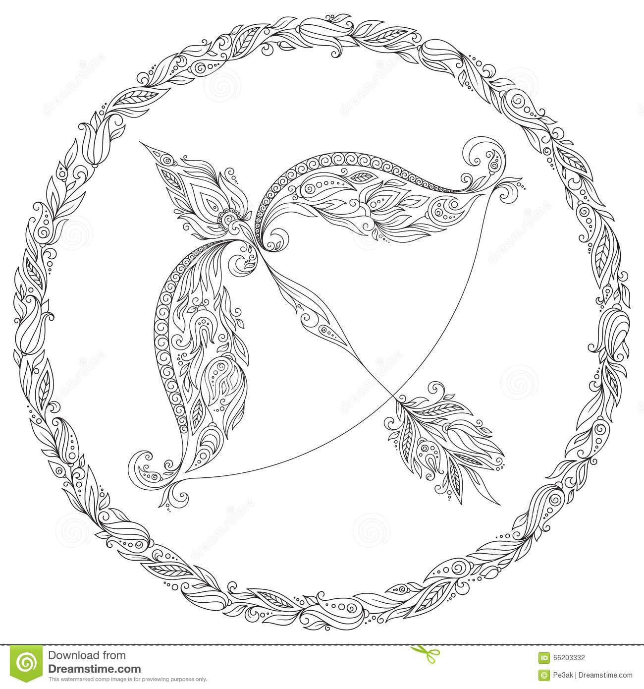 fairy with a bow and arrow coloring page stock illustration