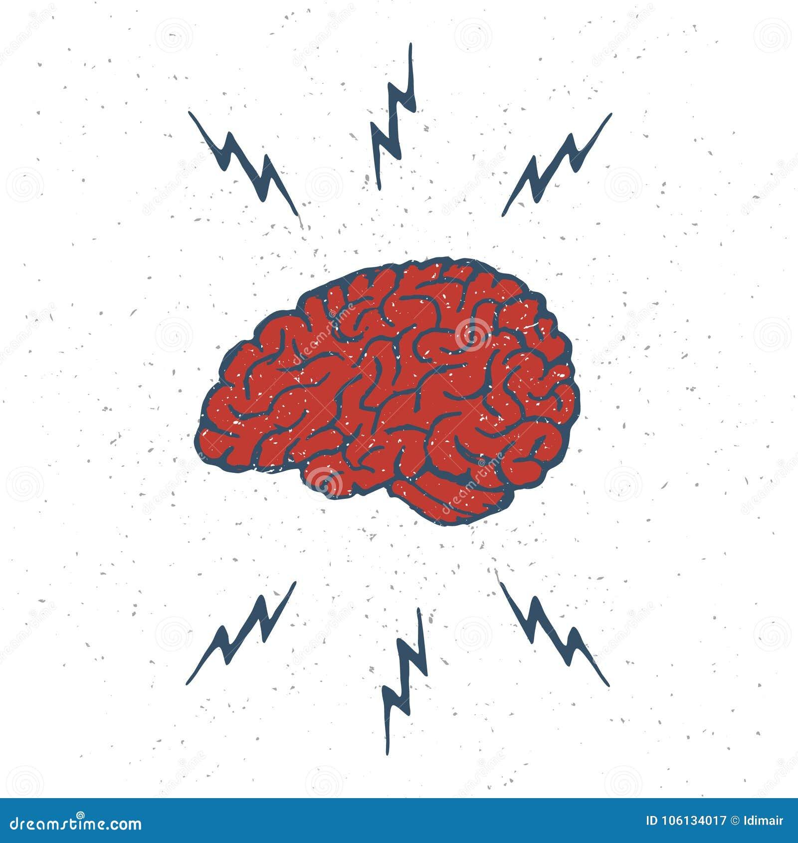 hand drawn brain lightning bolts vector stock vector illustration