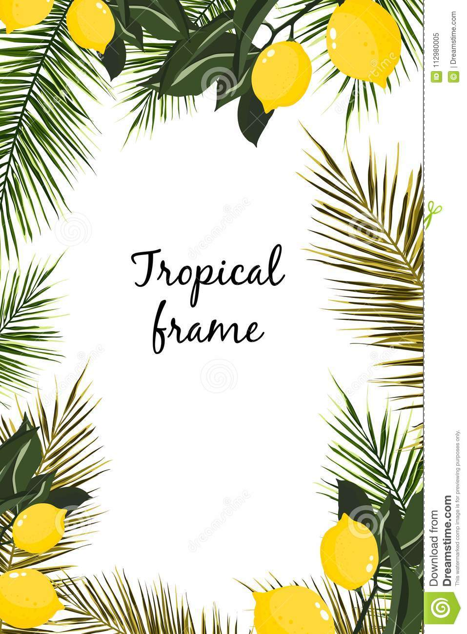 Hand drawn branches and leaves of tropical plants. Natural green background with space for text.