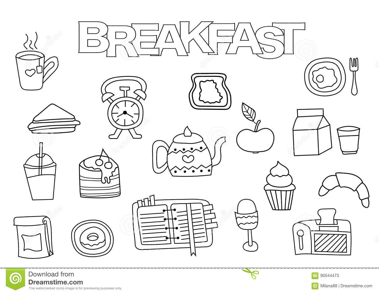 breakfast time coloring pages - photo#21