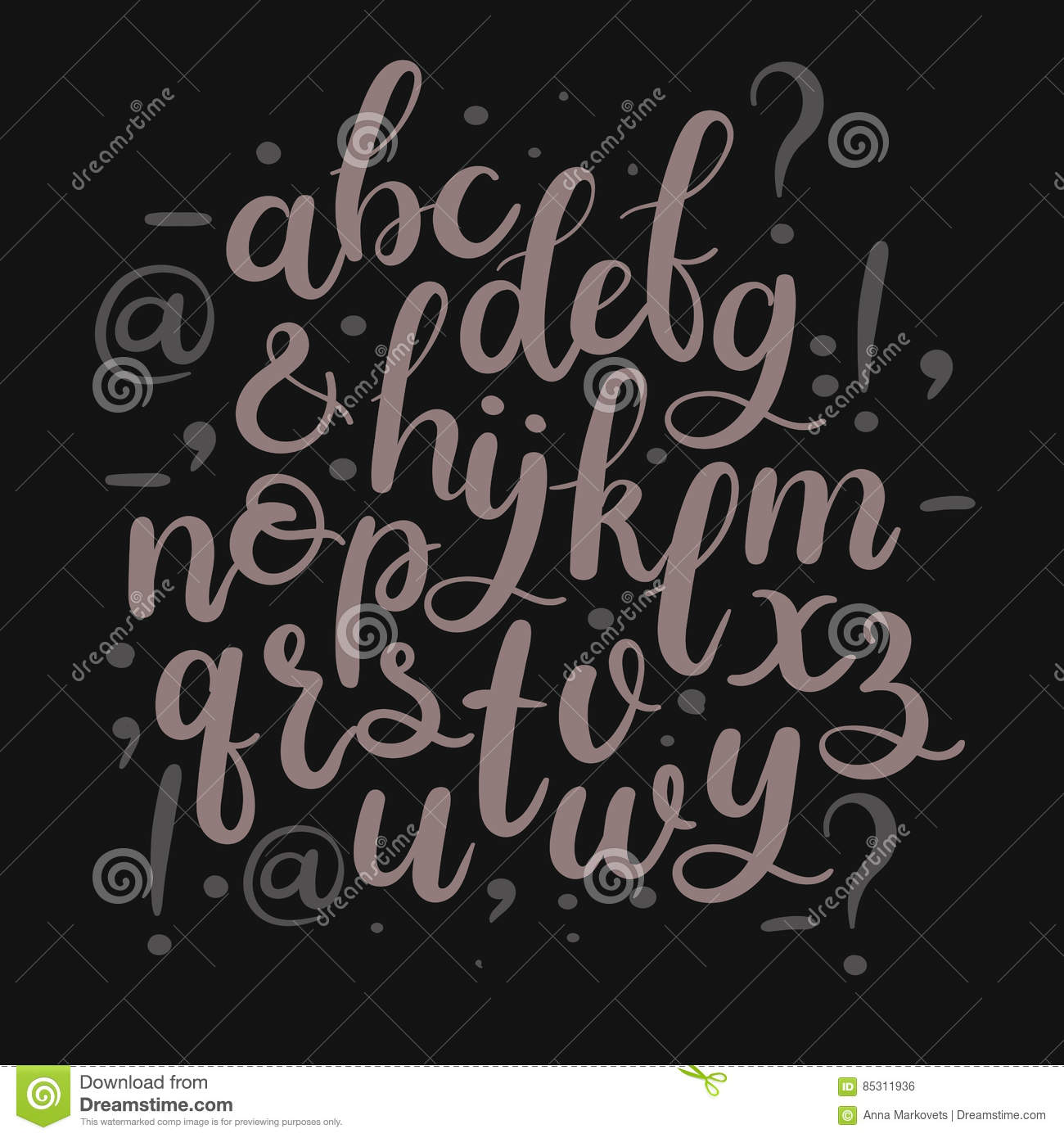 Hand drawn brush letters modern calligraphy font