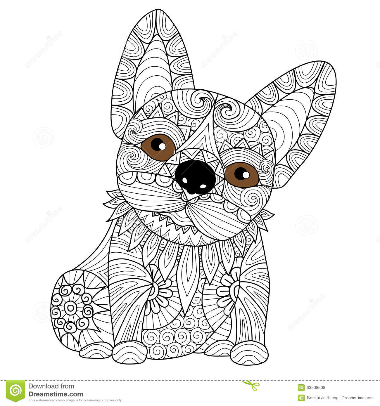 Hand Drawn Bulldog Puppy For Coloring Book Adult Royalty Free Stock Photos
