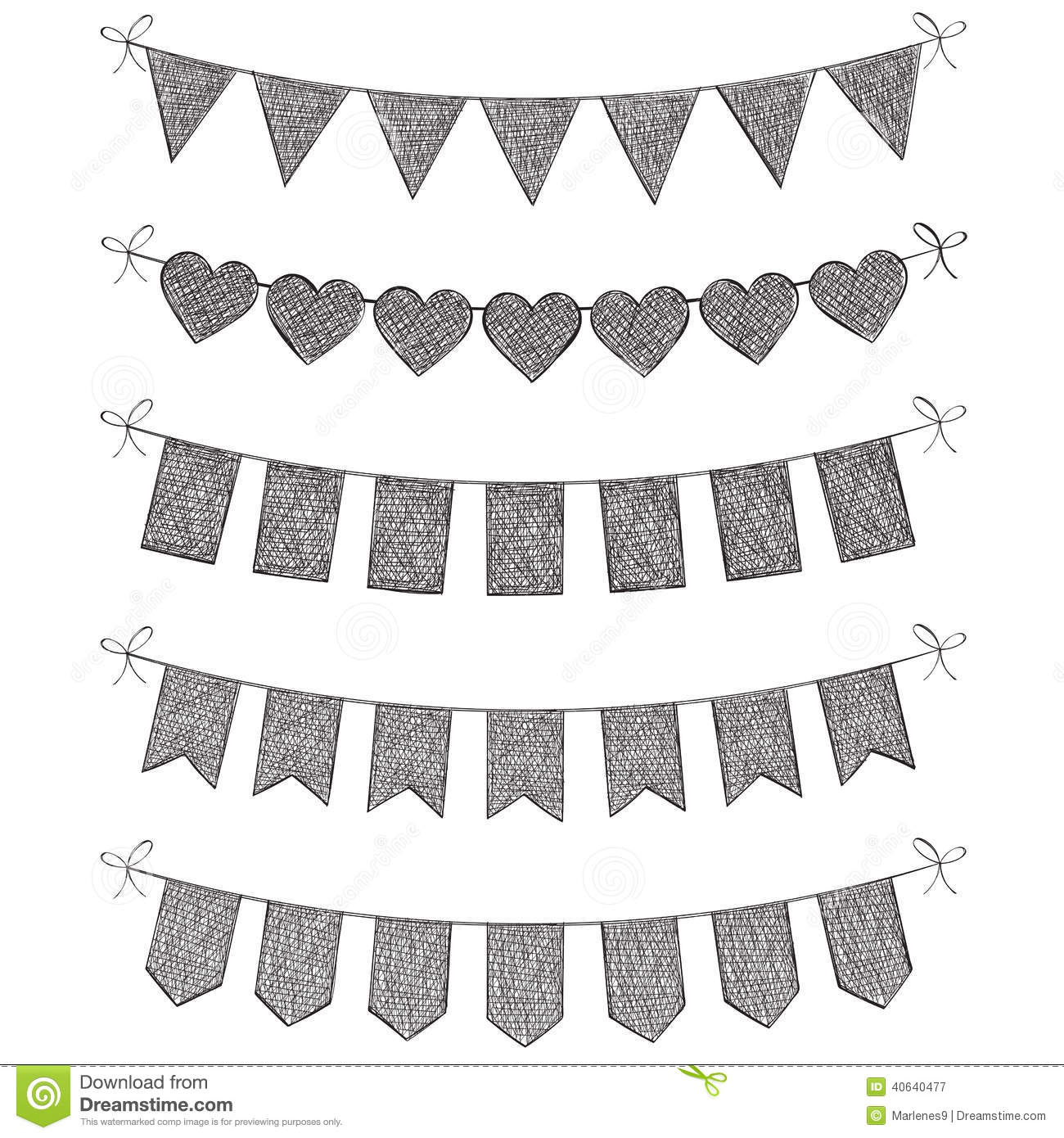 Hand drawn illustrated set of bunting flags isolated on a white studio ...