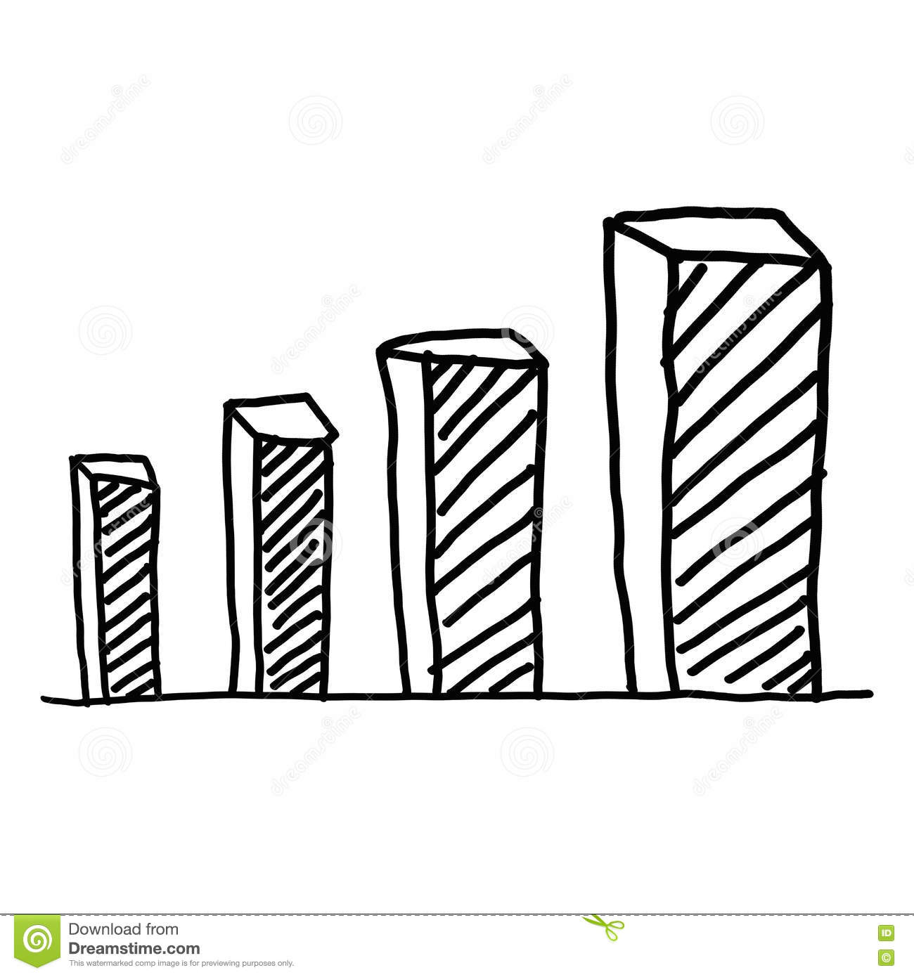 Drawing Line Graphs By Hand : Hand drawn a business bar graph show to concept of data