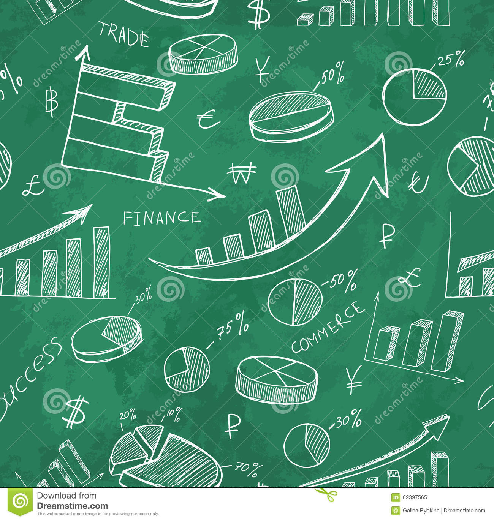 Finance Background: Hand Drawn Business Infographics Finance Seamless Pattern